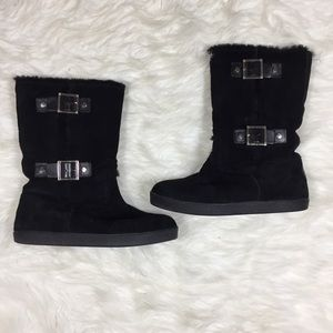 Tory Burch Black Suede Leather W Fur Lining Boots